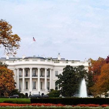 White House - Fall Foliage Surrounding South Portico - Washington, DC