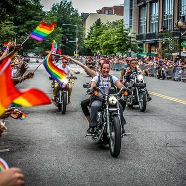 Women riding motorcycles in Capital Pride Parade - Discover the best LGBTQ-friendly events and things to do in DC