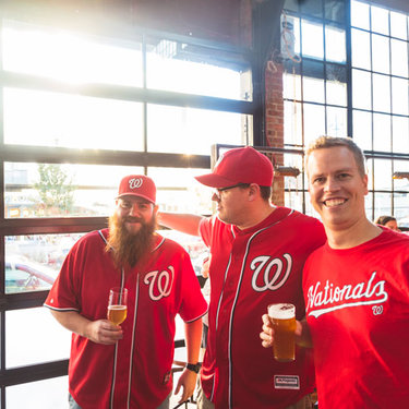 Washington Nationals fans at Bluejacket brewery on the Capitol Riverfront - Sports and entertainment in Washington, DC