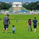 National Mall Washington, DC Visitors by National World War II Memorial Lincoln Memorial Reflecting Pool