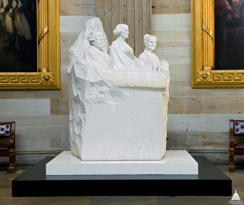Portrait Monument to Pioneers of Suffrage Movement statue in the United States Capitol Rotunda in Washington, DC