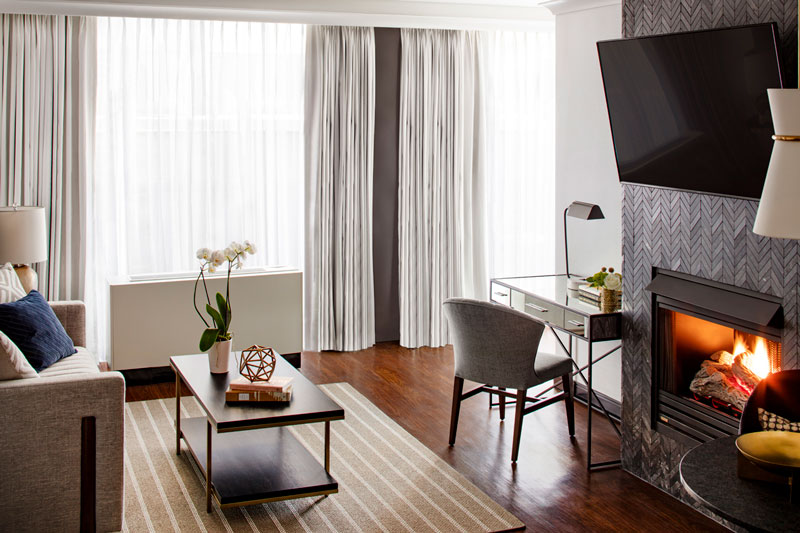 Suite with fireplace at the St. Gregory Hotel - Romantic Washington, DC hotels with fireplaces