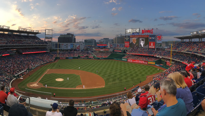 Spring sunset at Washington Nationals home game - Family-friendly activities in Washington, DC