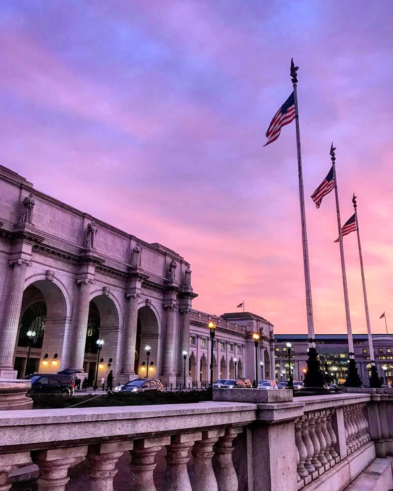 Winter at Union Station in NoMa - Transportation hub in Washington, DC