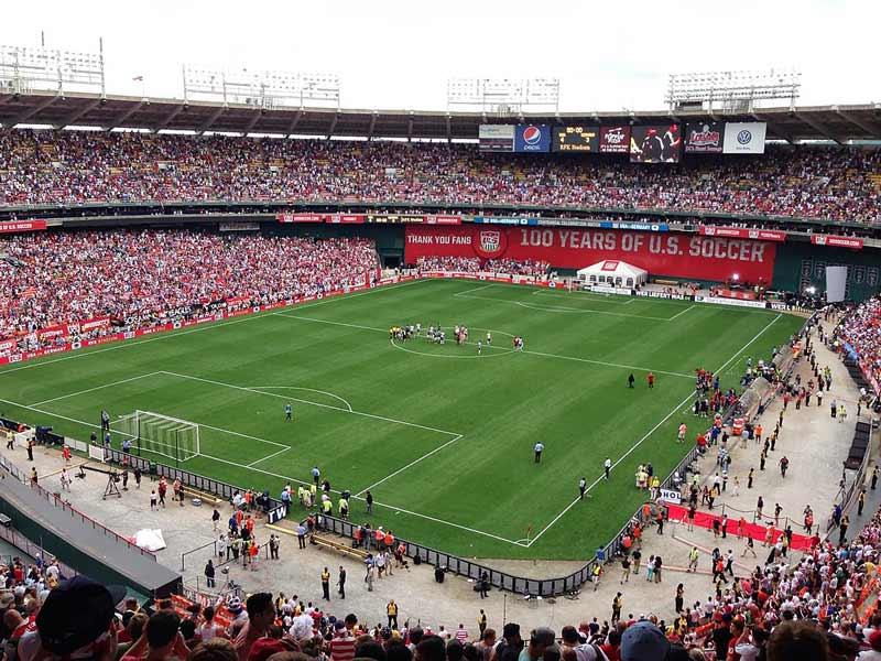 International soccer match at Robert F. Kennedy Memorial Stadium - Sports events at RFK Stadium in Washington, DC