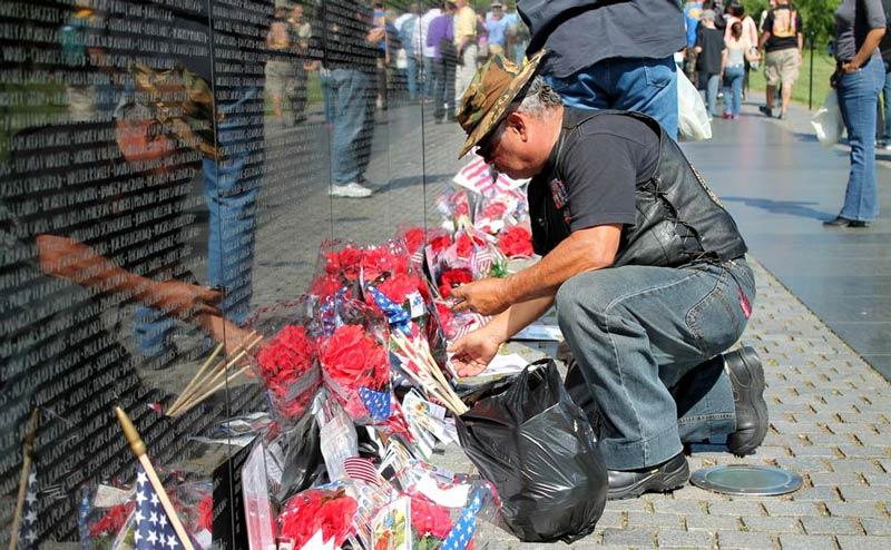 Vietnam Veteran at The Vietnam Veterans Memorial on Memorial Day, Washington, DC