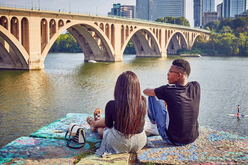 View of Key Bridge and Arlington from Georgetown - Washington, DC
