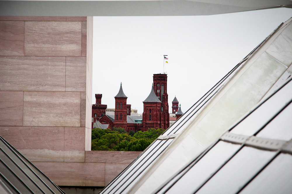 View of the Smithsonian Castle from the National Gallery of Art East Building Rooftop - Washington, DC