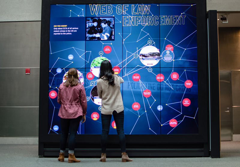 Visitors interacting with exhibit at the National Law Enforcement Museum in Washington, DC
