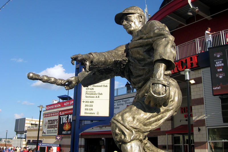 Walter Johnson statue at Nationals Park in Capitol Riverfront - Baseball in Washington, DC