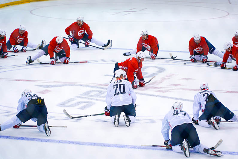 Washington Capitals Stretching for Practice