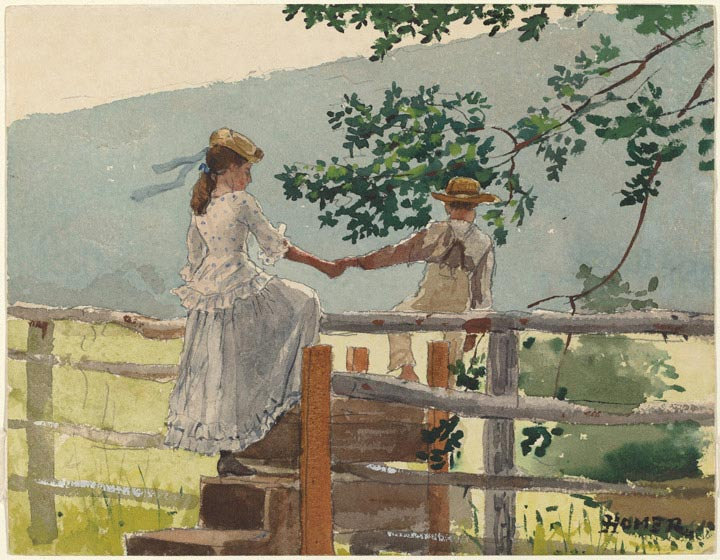 Winslow Homer, On the Stile, 1878, Collection of Mr. and Mrs. Paul Mellon