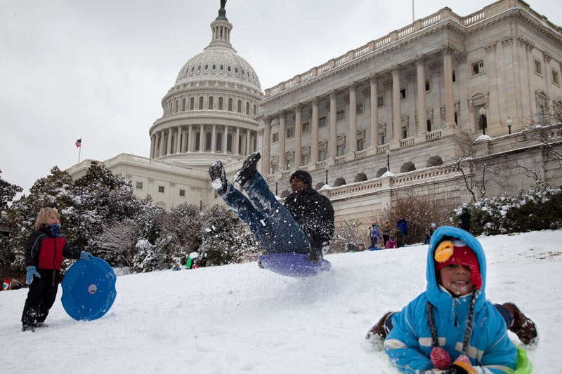 Winter sledding at the United States Capitol Grounds - Snow day activities and things to do in Washington, DC