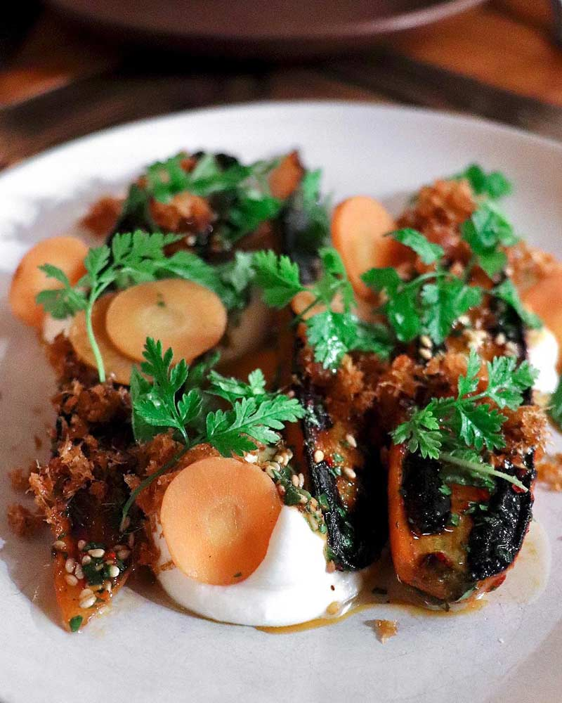 @withamnah - Charred carrots with ricotta dish at The Dabney in Shaw - Michelin star restaurant in Washington, DC