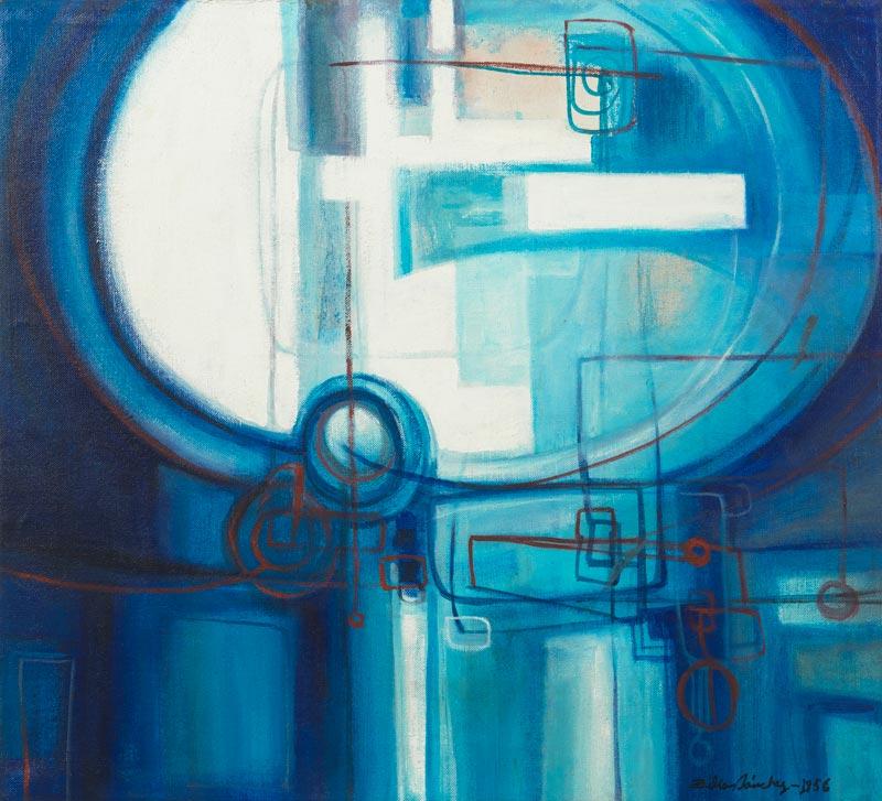 Zilia Sánchez, Azul azul (Blue Blue), 1956. Acrylic on canvas, 21 × 23 in., Collection of the artist, Courtesy Galerie Lelong & Co., New York