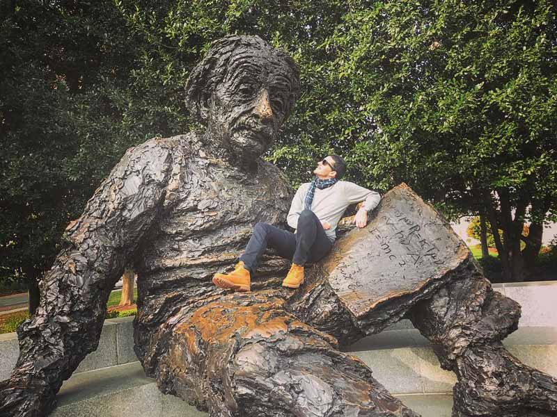 @ziv_zelinger - Man on Albert Einstein Memorial - Off-the-beaten path memorial in Washington, DC
