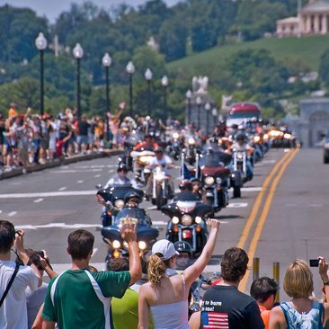Rolling Thunder Memorial Day Route over the Arlington Memorial Bridge